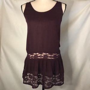 Sun & Shadow Top Sleeveless Lace Accents Small